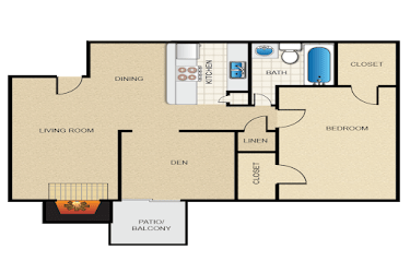 A2 Floor Plan at The Daphne Apartments, The Barvin Group, Houston, TX, 77054
