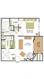 Plan A3 One Bed One Bath 672 Sq.ft. FloorPlan at Peppermill, Universal City, 78148