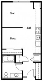 556 square Feet, studio 1 bath, EFF2 Floorplan