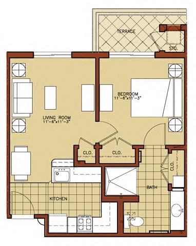Floor Plan  1 Bedroom 1 Bath 2D Floorplan-Triangle Square Apartments, Los Angeles, CA