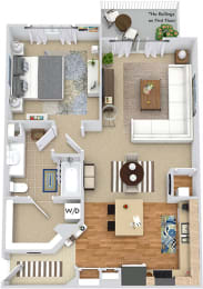 The Heron 3D. 1 bedroom apartment. Kitchen with island open to living/dinning rooms. 1 full bathroom. Walk-in closet. Patio/balcony.