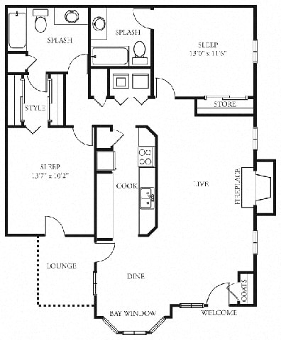 Hampton 2 bedroom 2 bath the addison at sandy springs apartment homes