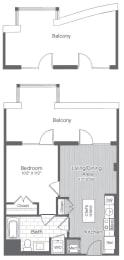 Floor Plan 1 Bed/1 Bath-A5
