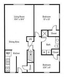 Floor Plan 2 Bedroom, 1 Bath 850 sq. ft.