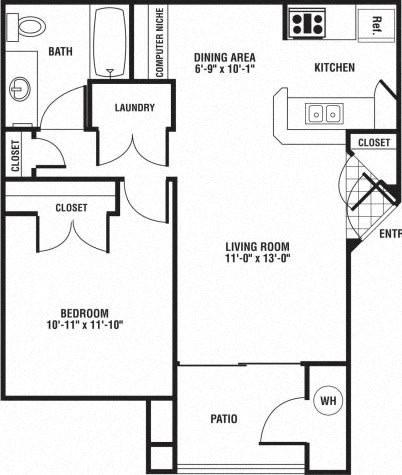 Floor Plan  1 Bed 1 Bath Floor Plan at The Preserve at Rock Springs, Rock Springs, Wyoming