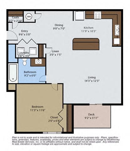 Floor Plan  Spruce 1 Bedroom 1 Bath Floor Plan at Pinyon Pointe, Loveland, 80537