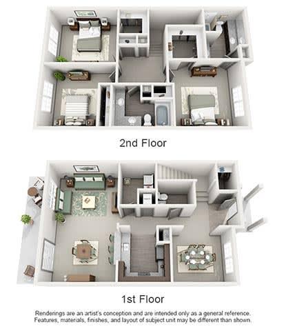 Floor Plan  The Estates at Johns Creek Apartment Homes - 3 Bedroom 2.5 Bath Apartment