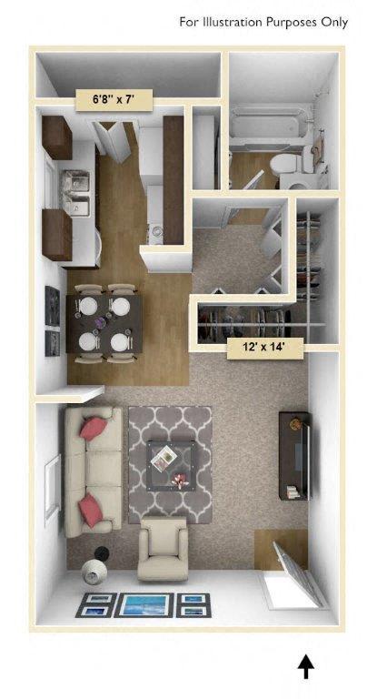 Floor Plan  Maple Studio Floor Plan at Perry Place, Grand Blanc
