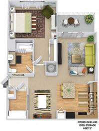 Wren 3D. 1 bedroom apartment. Kitchen with island open to living/dinning rooms. 1 full bathroom. Walk-in closet. Patio/balcony.