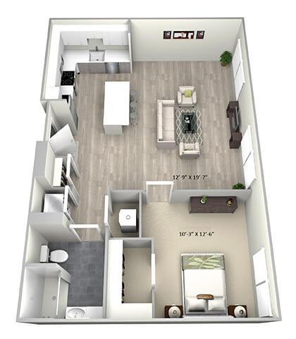 Floor Plan  1 Bed 1 Bath TruaC Floor Plan at 735 Truman, Massachusetts