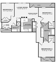 3 bed 2 bath FloorPlan at Apartments at Grand Prairie, Illinois
