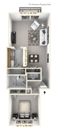 Floor Plan  The Lakeshore - 1 BR 1 BA Floor Plan at WaterFront Apartments, Virginia Beach, VA, 23453