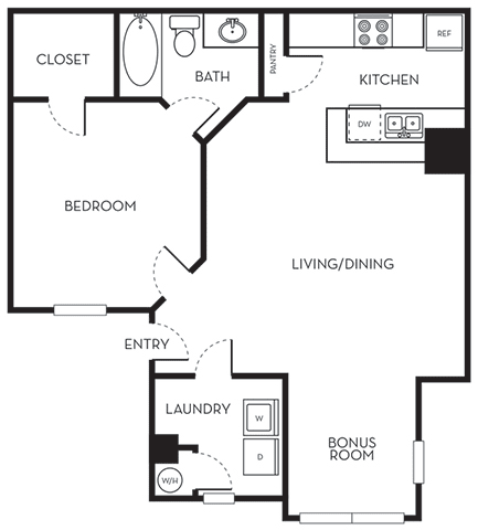 Floor Plan  One Bedroom One Bath Floorplan The Terraces at Lake Mary Florida