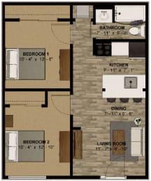 2 Bedroom 610 Sq Foot Floor Plan at -The Lodge-, Boulder, Colorado