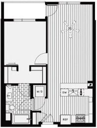 A4 – 1 Bedroom 1 Bath Floor Plan Layout – 754 Square Feet