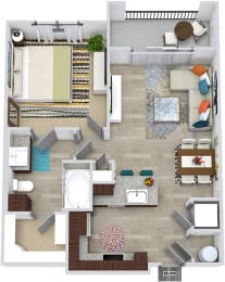 3D Aten 1 bedroom floor plan apartment. Kitchen with peninsula island. dining-living space. bathroom with walk-in closet. in-unit washer/dryer. Balcony.