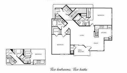 Floor Plan  Palomino - 2 Bedroom 2 Bath Floor Plan Layout - 1172 Square Feet