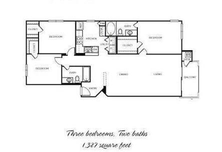 Floor Plan  Lipizzan - 3 Bedroom 2 Bath Floor Plan Layout - 1327 Square Feet