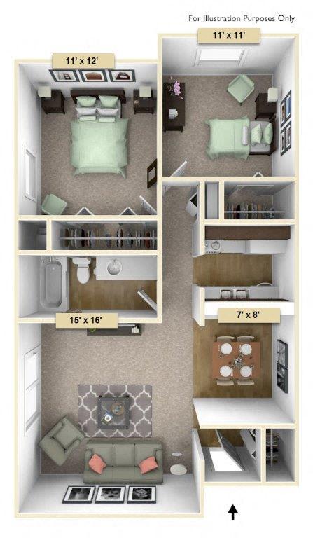 Floor Plan  Redwood Two Bedroom Floor Plan at Perry Place, Grand Blanc, MI