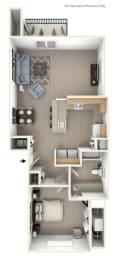 One Bedroom End Floor Plan at Stoney Pointe Apartment Homes, Wichita, KS, 67226