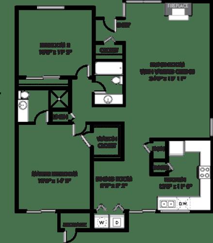 Floor Plan  ESPANA EAST   Apartments   2x2