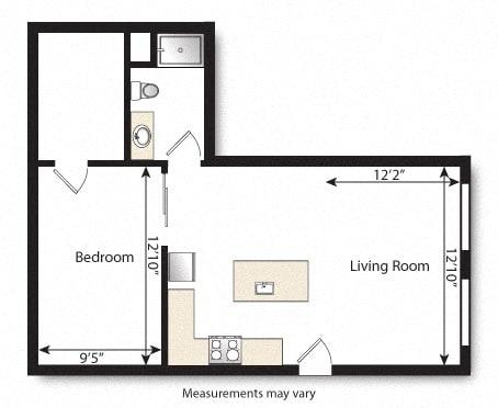 Floor Plan  1 Bed 1 Bath Sb