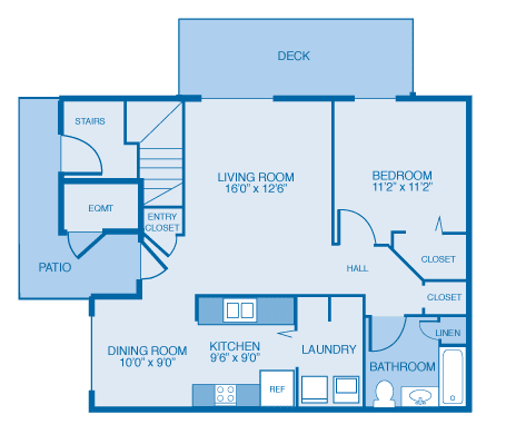 Floor Plan  Quail 1st Floor at Oak Hill Apartments and Townhomes, New York, 12144