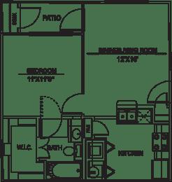 Floor Plan  A1 - 1bed/1bath