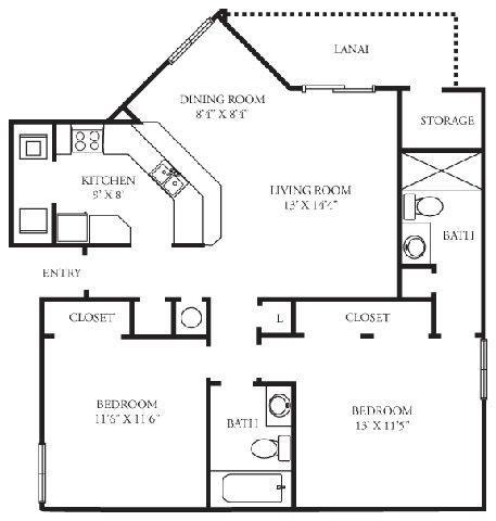 Floor Plan  Brighton | 2 Bedroom | 2 Bath | 1,001 Sq.Ft. at Winthrop West Apartment Homes, Riverview