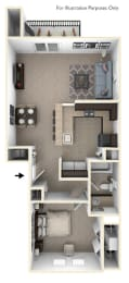 One Bedroom End Floor Plan at Trade Winds Apartment Homes in Elkhorn, NE