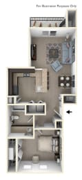 One Bedroom Floor Plan at Trade Winds Apartment Homes in Elkhorn, NE