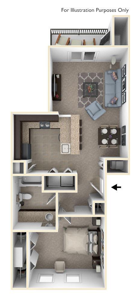 Floor Plan  One Bedroom Floor Plan at Trade Winds Apartment Homes in Elkhorn, NE