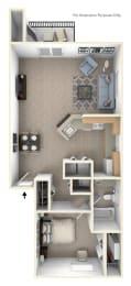 One Bedroom One Bath End Floorplan at Green Ridge Apartments, Grand Rapids, MI, 49544