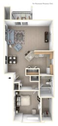 One Bedroom End Floor Plan at The Highlands Apartments, Elkhart, Indiana