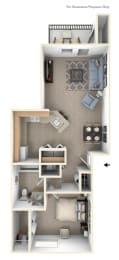 One Bedroom One Bath Floorplan at Huntington Cove Apartments, Merrillville, 46410
