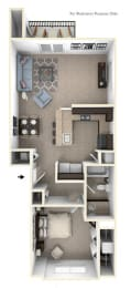 One Bedroom One Bath End Floorplan at Copper Creek Apartment Homes, Maize, KS