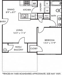 3D Wellesley 1 bedroom apartment with fenced-in yard. kitchen with bartop open to dining and living room. 1 full bath. in-unit laundry. Patio/balcony.
