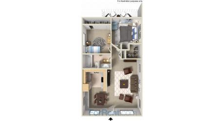 Floor Plan  Point Bonita Apartment Homes - 2 Bedroom 1 Bath Apartment