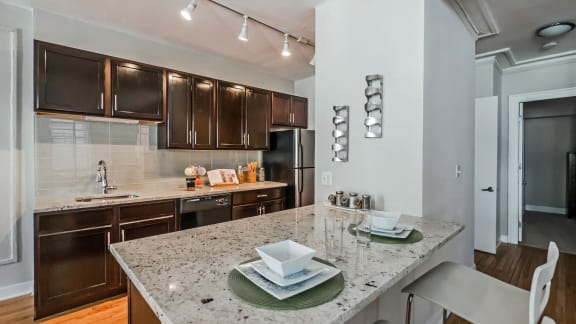 Renovated Apartments with stone countertops at Reside on Surf Apartments, Illinois, 60657