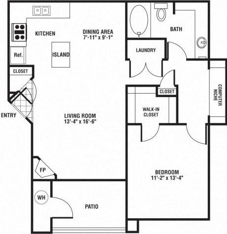 Floor Plan  1 Bedroom 1 Bath Floor Plan at The Preserve at Rock Springs, Wyoming