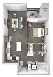 The Haven at Shoal Creek - A2 - Awaken - 1 bedroom - 1 bath - 3D