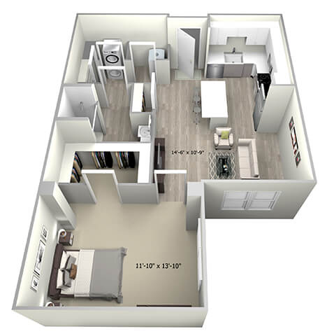 Floor Plan  1 Bed 1 Bath TruaH Floor Plan at 735 Truman, Hyde Park, Massachusetts