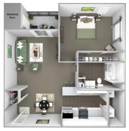 Hampshire Green Apartments - A2 (Hibernia) - 1 Bedroom - 1 bath - 3D