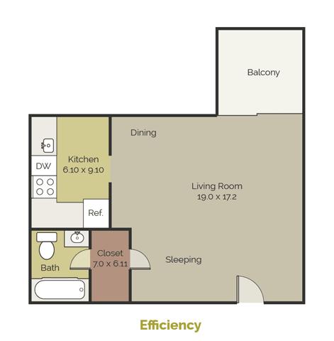 Floor Plan  New Brookside Apartments Efficiency Floor Plan