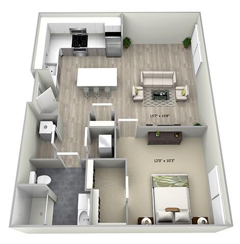 Floor Plan  1 Bed 1 Bath TruaB Floor Plan at 735 Truman, Hyde Park