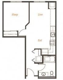 576 square Feet, 1 bedroom 1 bath, A1 Floorplan