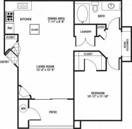 1 Bedroom 1 Bathroom Floor Plan at The Preserve at Rock Springs, Rock Springs