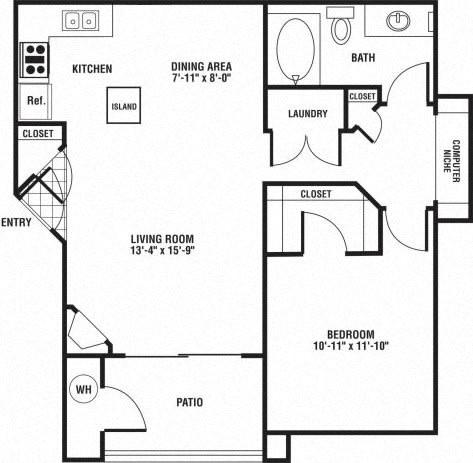Floor Plan  1 Bedroom 1 Bathroom Floor Plan at The Preserve at Rock Springs, Rock Springs