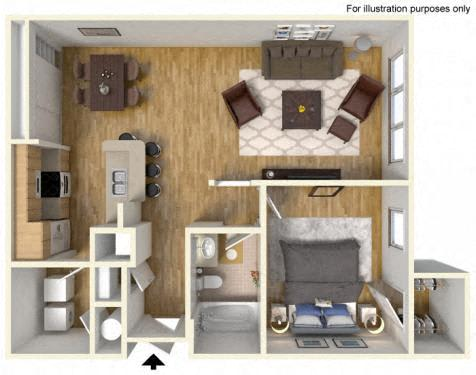 Floor Plan  1Bedroom 1 Bath 3D Furnished Floorplan_The Crossings at Cape Coral Cape Coral, FL
