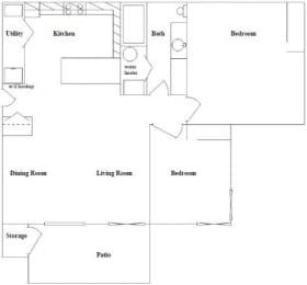 2 Bed 1 Bath Floor Plan at Columbia Village, Boise, ID, 83716